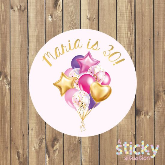 Personalised Birthday Party Stickers - Gold Balloons Design